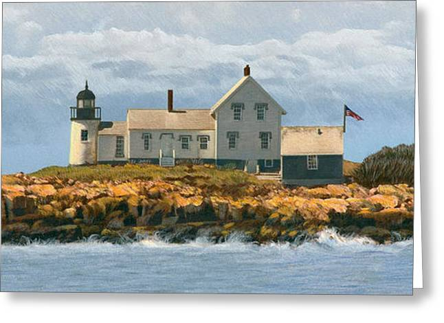 Maine Lighthouses Greeting Cards - Foggy Sentinel Greeting Card by Brent Ander