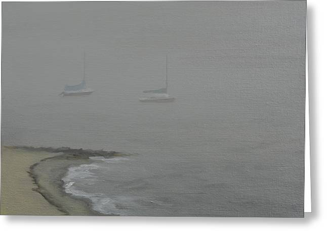Cape Cod Paintings Greeting Cards - Foggy Shore Greeting Card by Paul Walsh