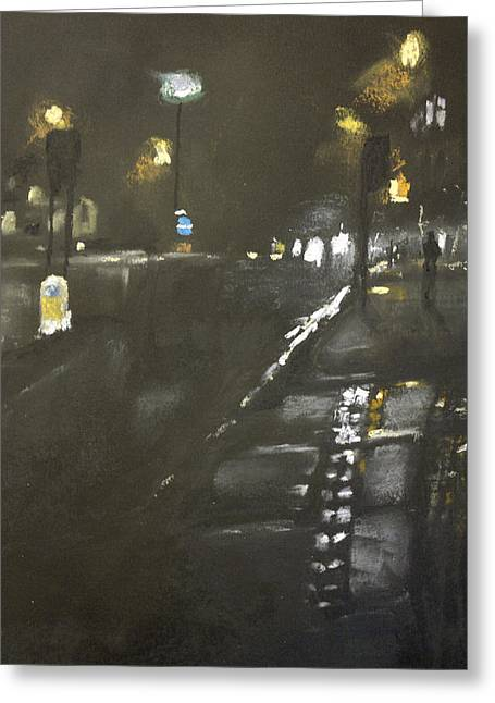 Eerie Pastels Greeting Cards - Foggy Street 3 Greeting Card by Paul Mitchell