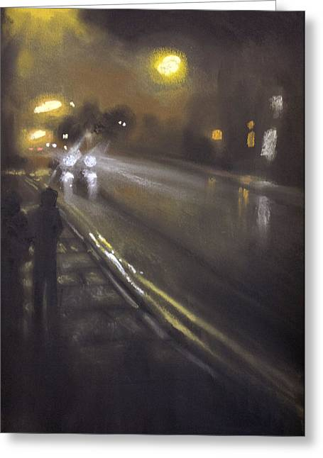 Traffic Pastels Greeting Cards - Foggy Street 6 Greeting Card by Paul Mitchell