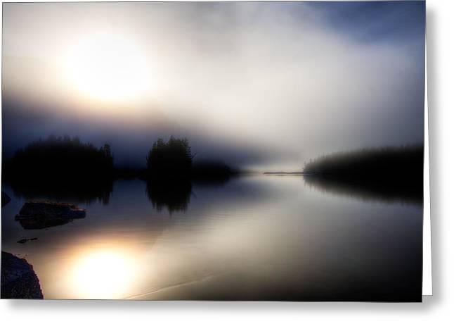 Foggy Ocean Greeting Cards - Foggy Sunrise-Galloway Greeting Card by Evan Spellman