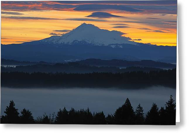 Foggy Day Greeting Cards - Foggy Sunrise Over Mount Hood Mount Greeting Card by Craig Tuttle