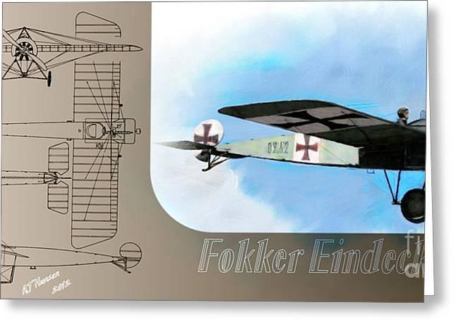 Wwi Greeting Cards - Fokker Eindecker EIII Greeting Card by Arne Hansen