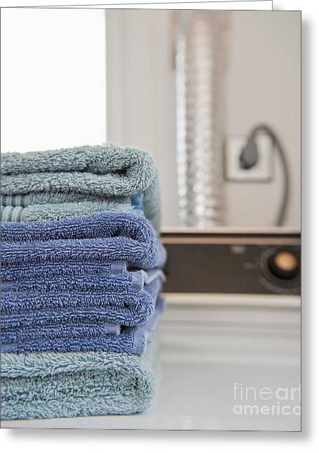 Chore Greeting Cards - Folded Towels on a Dryer Greeting Card by Thom Gourley/Flatbread Images, LLC