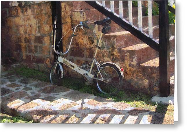 Biking Greeting Cards - Folding Bicycle Antigua Greeting Card by Susan Savad