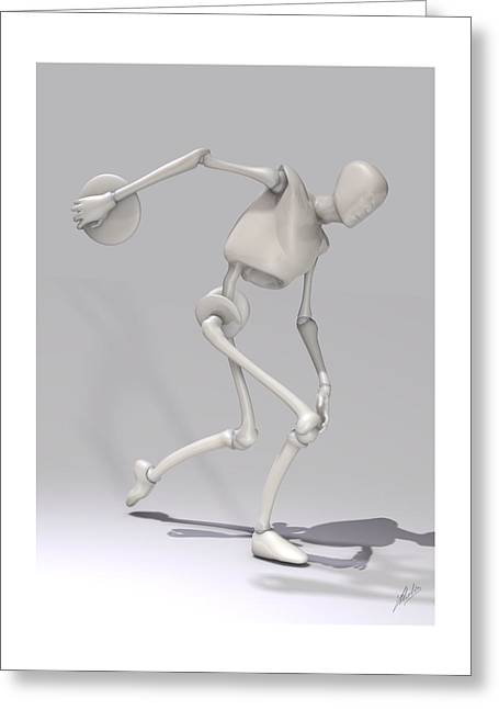 Cute Mixed Media Greeting Cards - Discobolus Robotic Greeting Card by Joaquin Abella