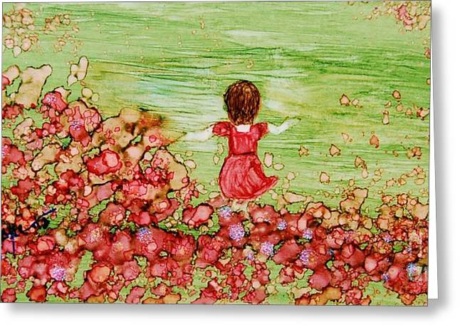 Best Sellers -  - Flower Pink Fairy Child Greeting Cards - Folicking in the Meadow Greeting Card by Joyce Auteri