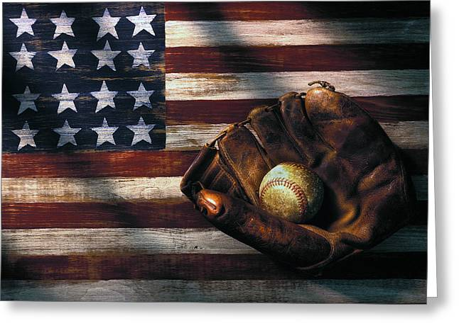 Blue Shadows Greeting Cards - Folk art American flag and baseball mitt Greeting Card by Garry Gay