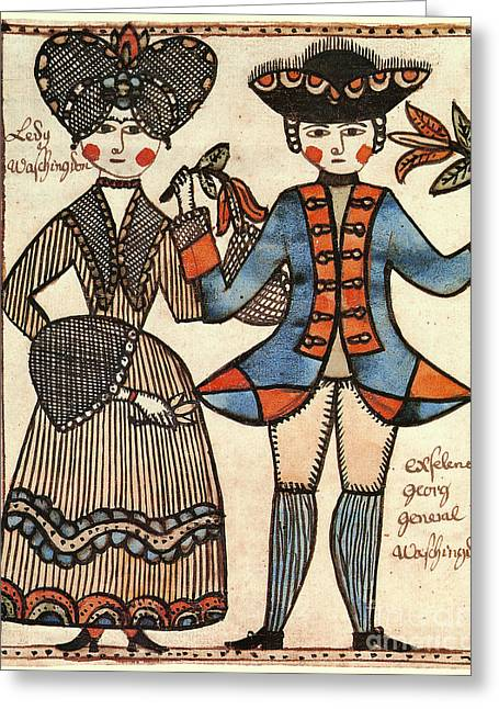 First-lady Greeting Cards - Folk Art: Washingtons Greeting Card by Granger