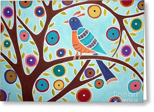 Primitives Greeting Cards - Folk Bird In Tree Greeting Card by Karla Gerard