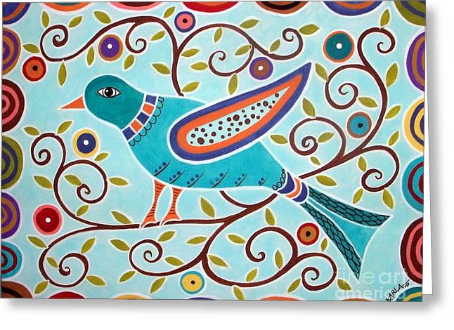 Pillow Paintings Greeting Cards - Folk Bird Greeting Card by Karla Gerard