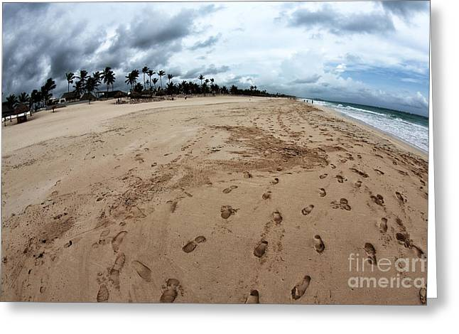 Footprints In The Sand Greeting Cards - Follow the Footprints Greeting Card by John Rizzuto