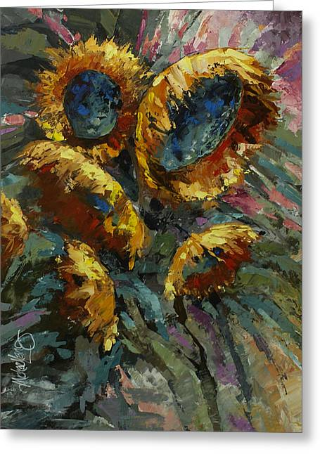 Pallet Knife Greeting Cards - Follow the Sun 2 Greeting Card by Michael Lang