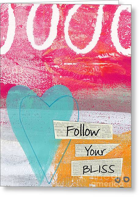 Pink Heart Greeting Cards - Follow Your Bliss Greeting Card by Linda Woods