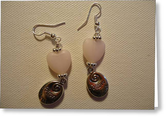 Heart Jewelry Greeting Cards - Follow Your Heart Sweet Pink Earrings Greeting Card by Jenna Green