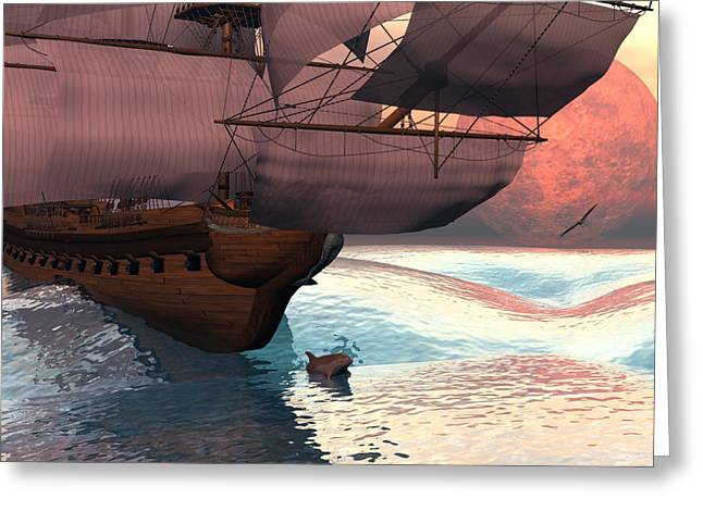 Tall Ships Greeting Cards - Following the navigator Greeting Card by Claude McCoy