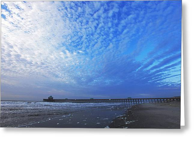 Beach Photography Greeting Cards - Folly Beach before the Storm Greeting Card by Sheila Kay McIntyre