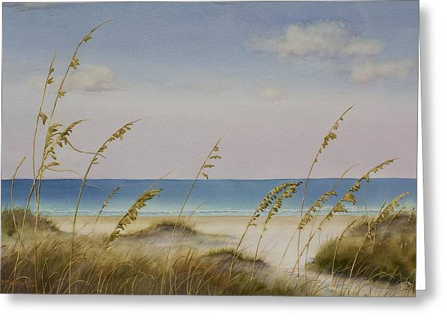 Sand Dunes Paintings Greeting Cards - Folly Beach Greeting Card by Cindy Davis