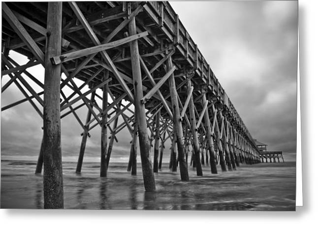 Skies Greeting Cards - Folly Beach Pier Black and White Greeting Card by Dustin K Ryan