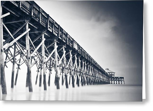 Pier Pyrography Greeting Cards - Folly Beach Pier Greeting Card by Donni Mac