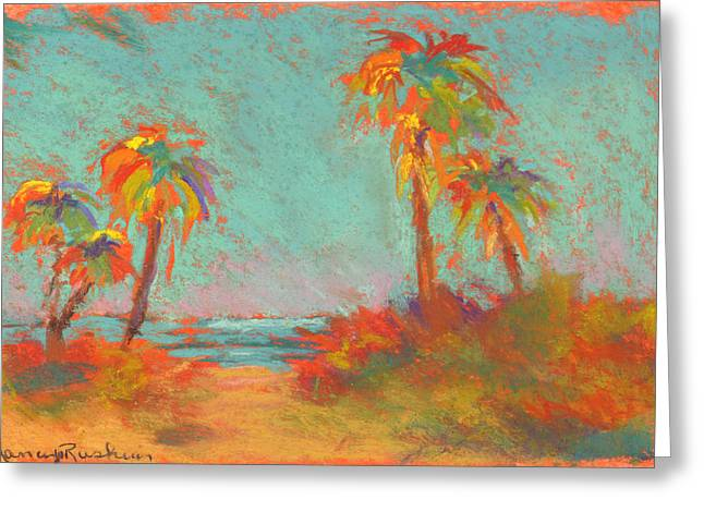 Beach Landscape Pastels Greeting Cards - Folly Beach Surf s Up Greeting Card by Nancy W Rushing