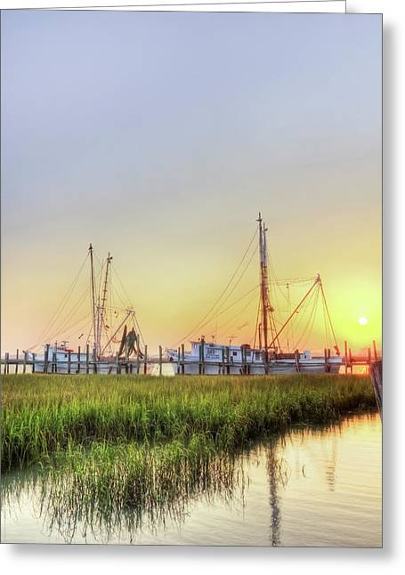 Fishing Creek Greeting Cards - Folly Fishing Boats  Greeting Card by Drew Castelhano