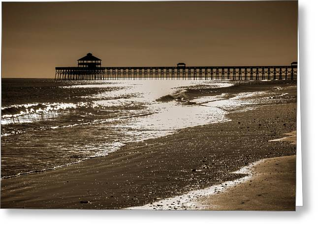 Folly Greeting Cards - Folly Pier Sunset Greeting Card by Drew Castelhano