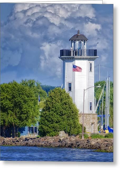 Fond Du Lac Lighthouse Greeting Card by Joan Carroll