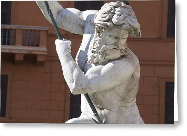 Fontana del Nettuno. Neptune Fountain. Piazza Navona. Rome Greeting Card by BERNARD JAUBERT