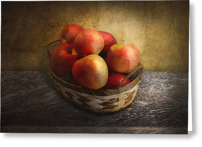 Gifts For A Chef Greeting Cards - Food - Apples - Apples in a basket  Greeting Card by Mike Savad