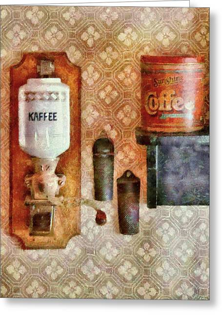 I Drink Greeting Cards - Food - Lets have some Kaffee Greeting Card by Mike Savad