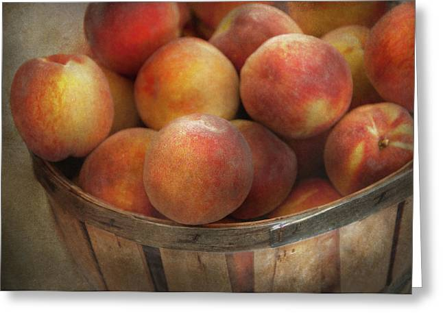 Food - Peaches - Just Peachy Greeting Card by Mike Savad