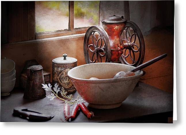 Gifts For A Chef Greeting Cards - Food - The morning chores Greeting Card by Mike Savad