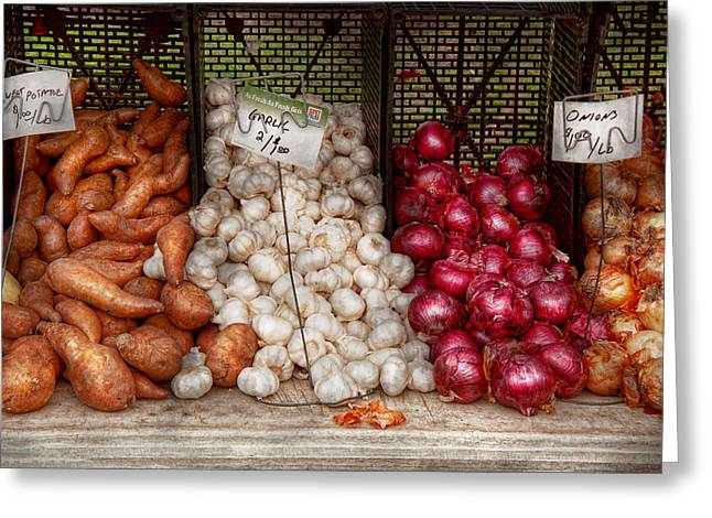 Potato Greeting Cards - Food - Vegetable - Sweet potatoes-Garlic- and Onions - Yum  Greeting Card by Mike Savad