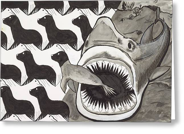 White Shark Drawings Greeting Cards - Food Chain Greeting Card by Terry Lewey