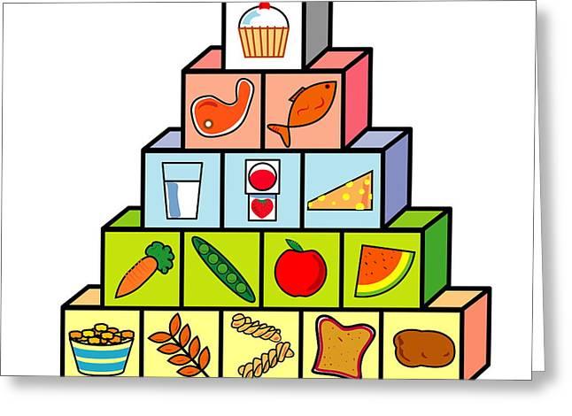 Watermelon Greeting Cards - Food Pyramid Greeting Card by David Nicholls