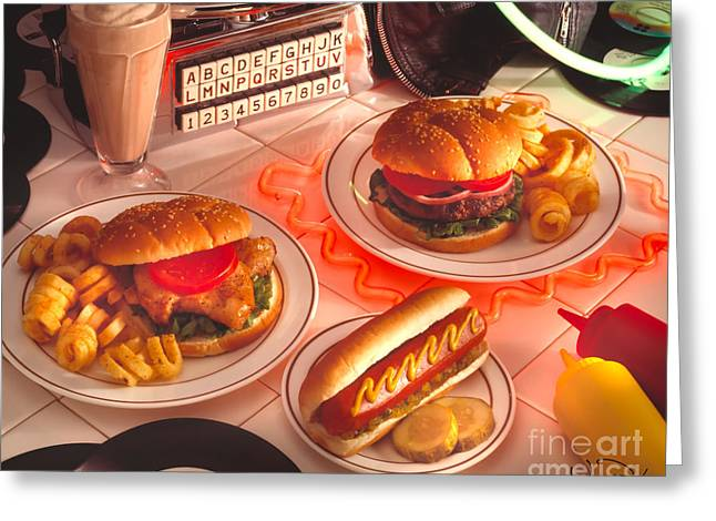 Hamburger Greeting Cards - Food Rock Greeting Card by Vance Fox