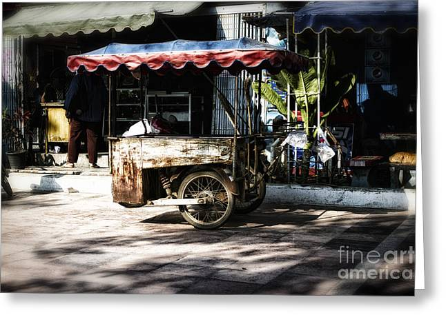 Push Cart Artist Greeting Cards - Food Stand Greeting Card by Thanh Tran