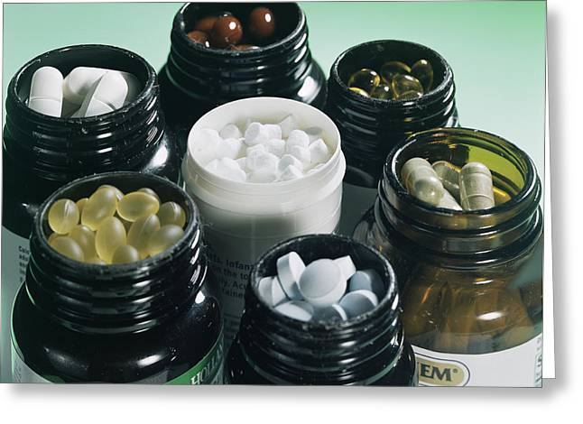 Calcium Phosphate Greeting Cards - Food Supplements Greeting Card by Sheila Terry