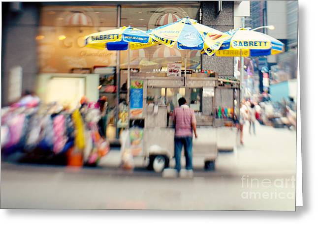 Food Vendor In New York City Greeting Card by Kim Fearheiley