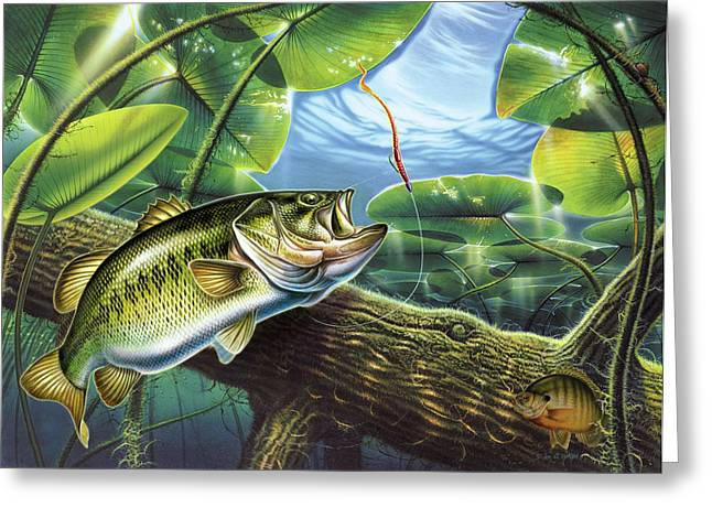 Lily Pads Greeting Cards - Fooled Again Bass II Greeting Card by JQ Licensing