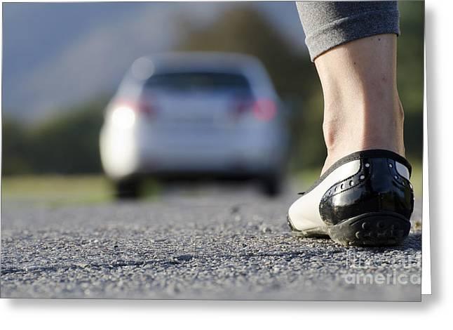 Leg Lamp Greeting Cards - Foot and car Greeting Card by Mats Silvan