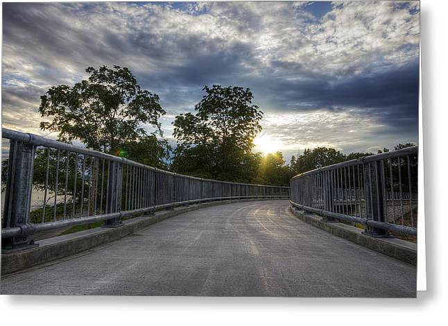 Old Walkway Greeting Cards - Foot Bridge Greeting Card by Eric Gendron