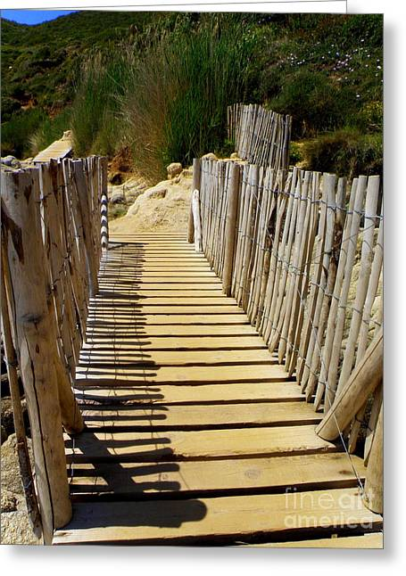 Lainie Wrightson Greeting Cards - Foot Bridge Greeting Card by Lainie Wrightson