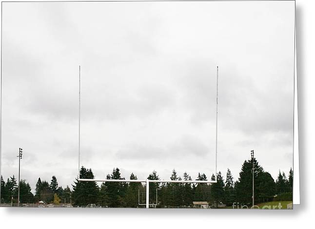 Goalpost Greeting Cards - Football Field and Goalpost Greeting Card by Andersen Ross
