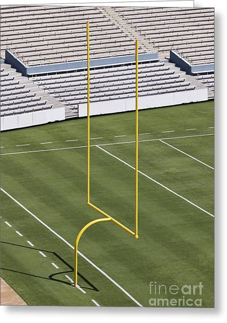 Sports Arenas Greeting Cards - Football Field End Zone Greeting Card by Jeremy Woodhouse