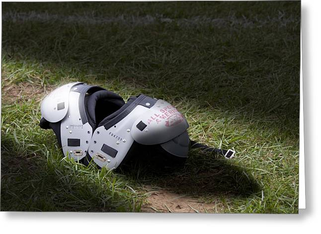 Sports Equipment Greeting Cards - Football Shoulder Pads Greeting Card by Tom Mc Nemar