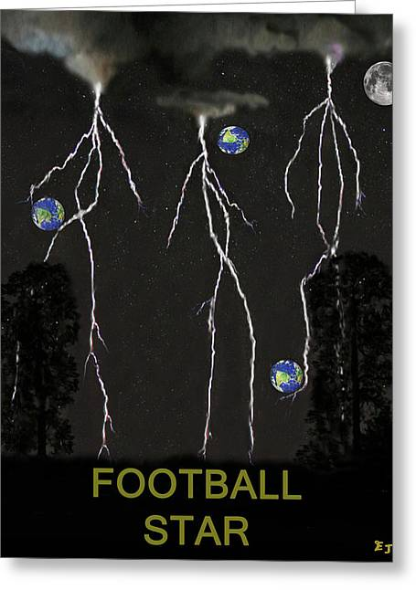 Official Member Mixed Media Greeting Cards - Football Star Greeting Card by Eric Kempson