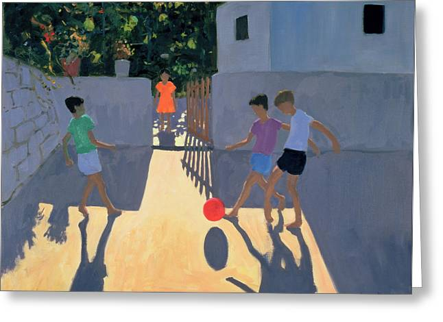 Childs Play Greeting Cards - Footballers Greeting Card by Andrew Macara