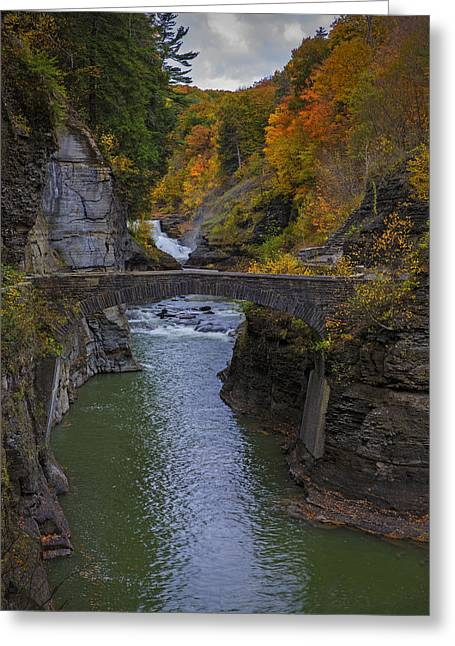 Autumn Photographs Photographs Greeting Cards - Footbridge at Lower Falls Greeting Card by Rick Berk